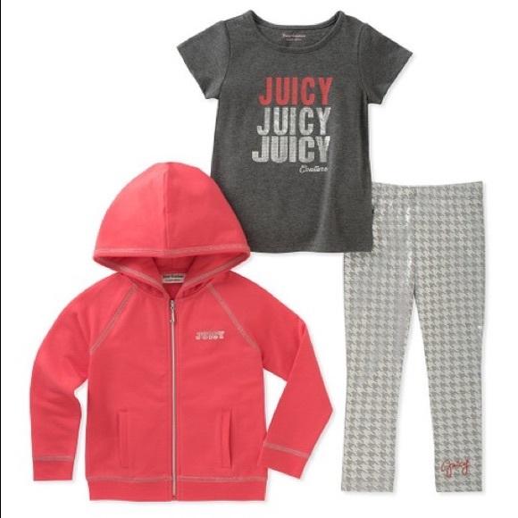 Juicy Couture Pink Juicy Stacked Zip-Up Hoodie Set